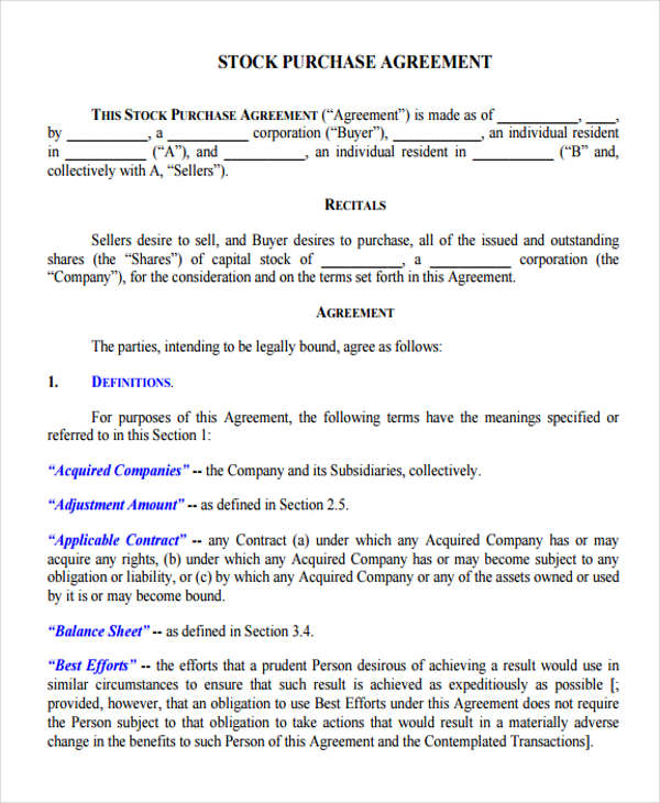 25 Sample Business Agreement Forms – Free Business Purchase Agreement