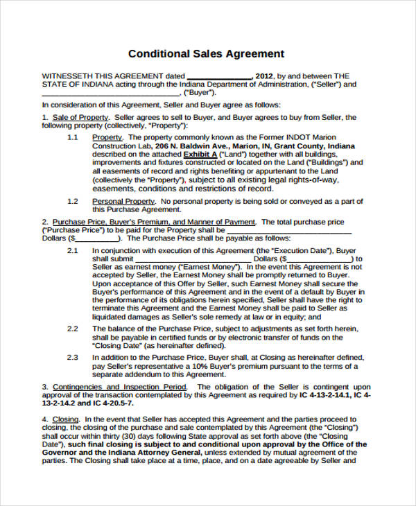 free conditional sales agreement form1