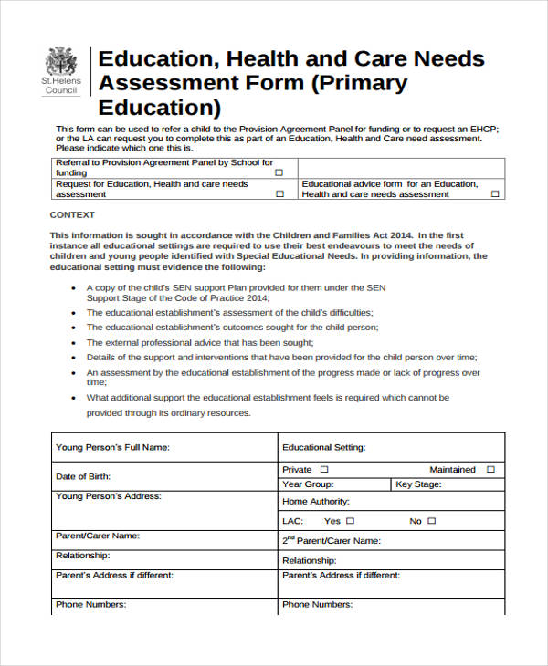 free educational needs assessment form