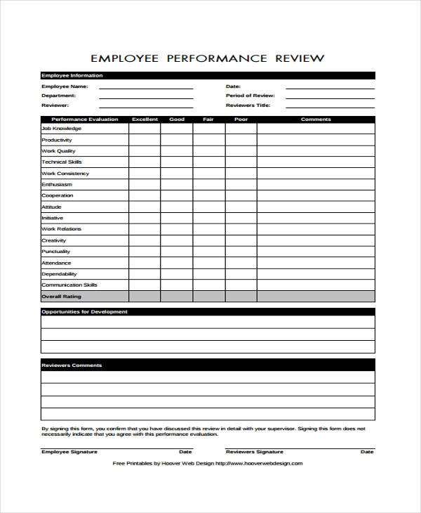 free employee performance review form