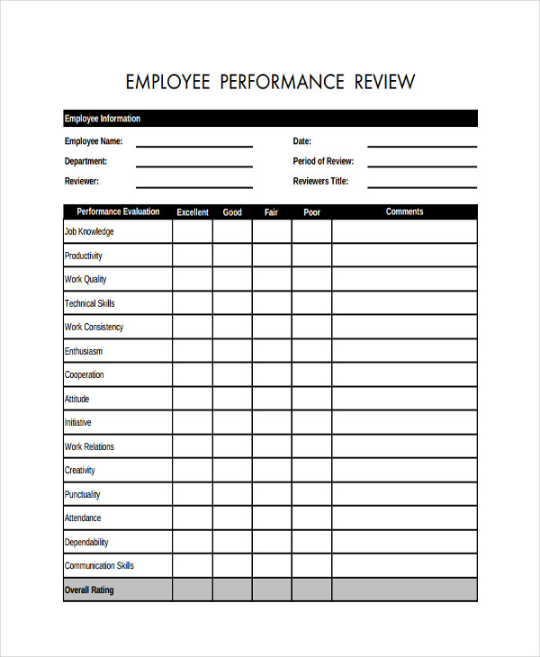 Sample Employee Review Forms