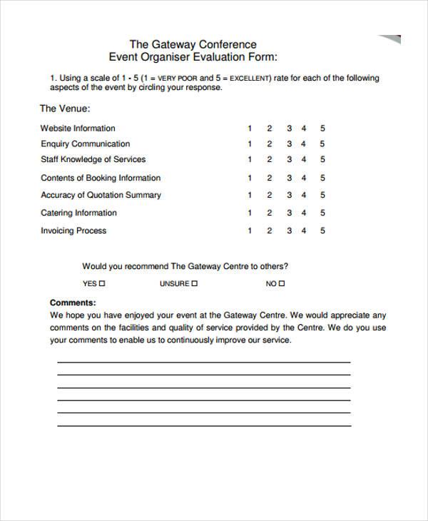 free event organiser evaluation form