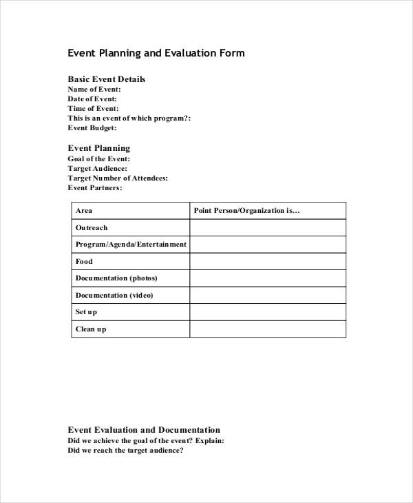 free event planning evaluation form