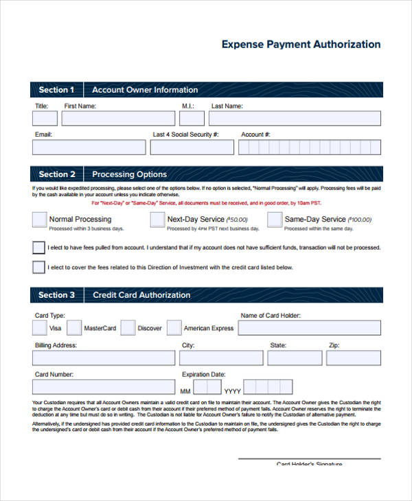 free expense payment authorization form