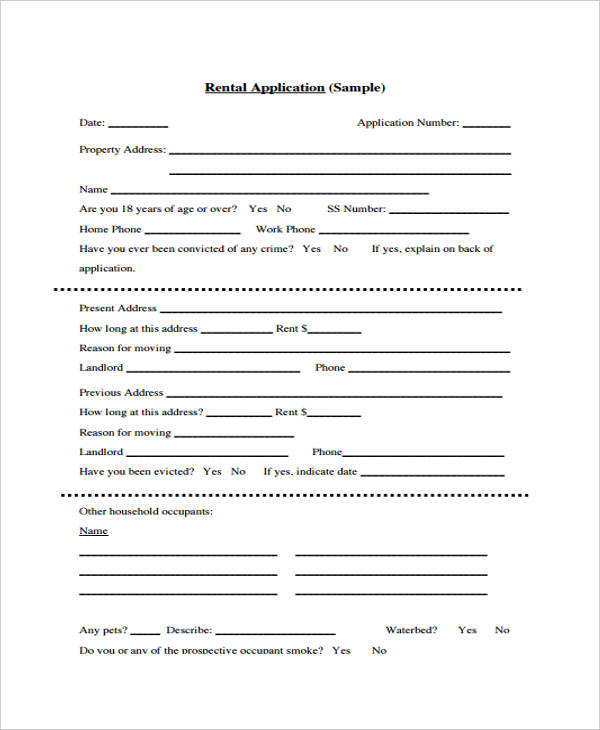 Free Home Rental Application Form