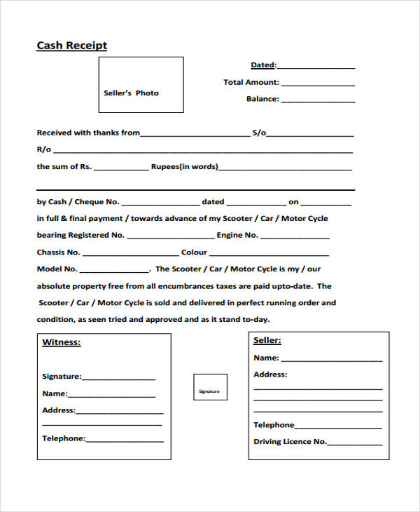 free managing cash receipt form
