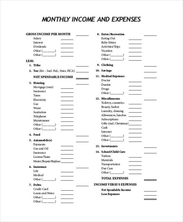 Free 9  Income And Expense Form In Sample  Example  Format