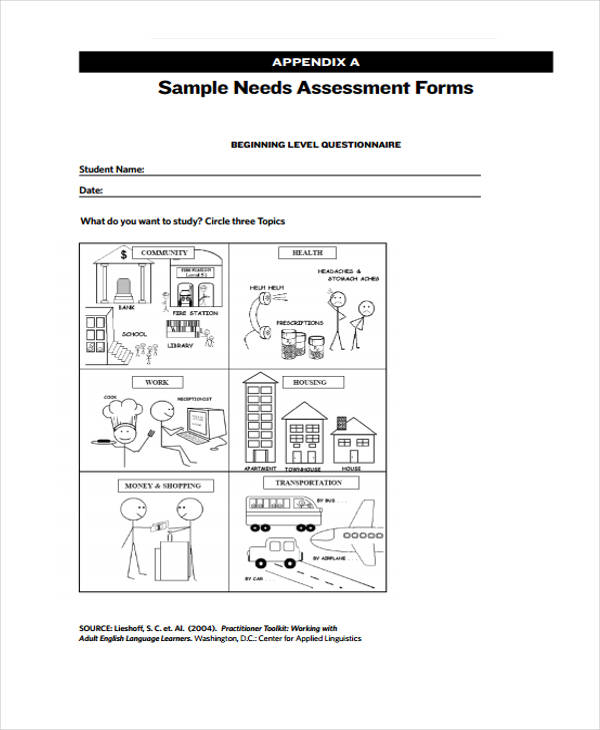 free needs assessment form