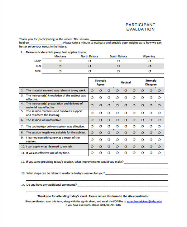 Event Evaluation Form Templates