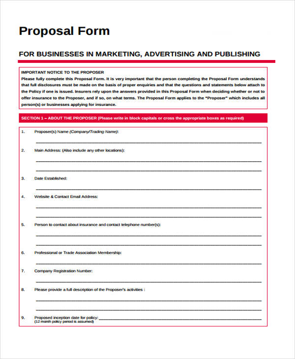 free radio advertising proposal form