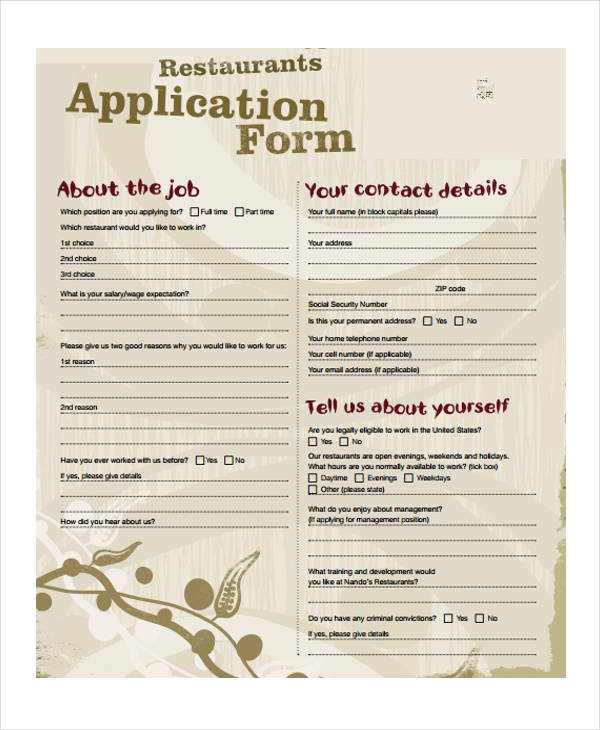 free restaurant job application form