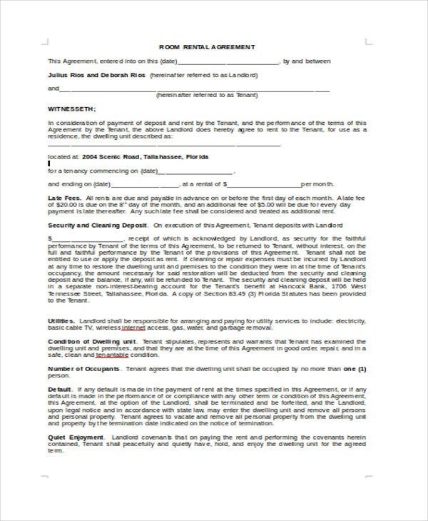 free room rental agreement form