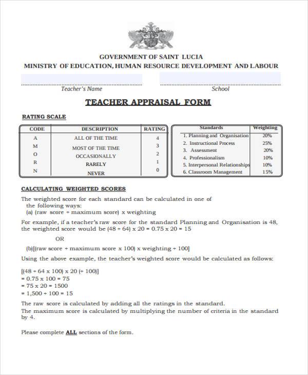 free teacher appraisal form