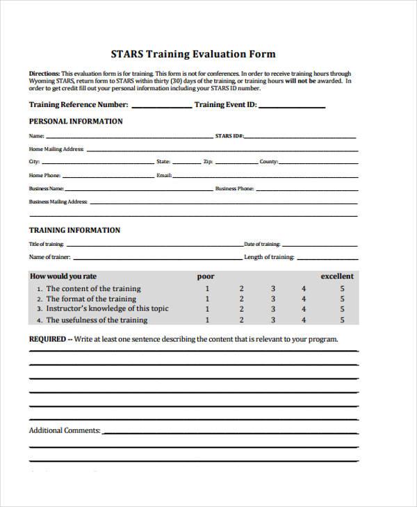 free training event evaluation form