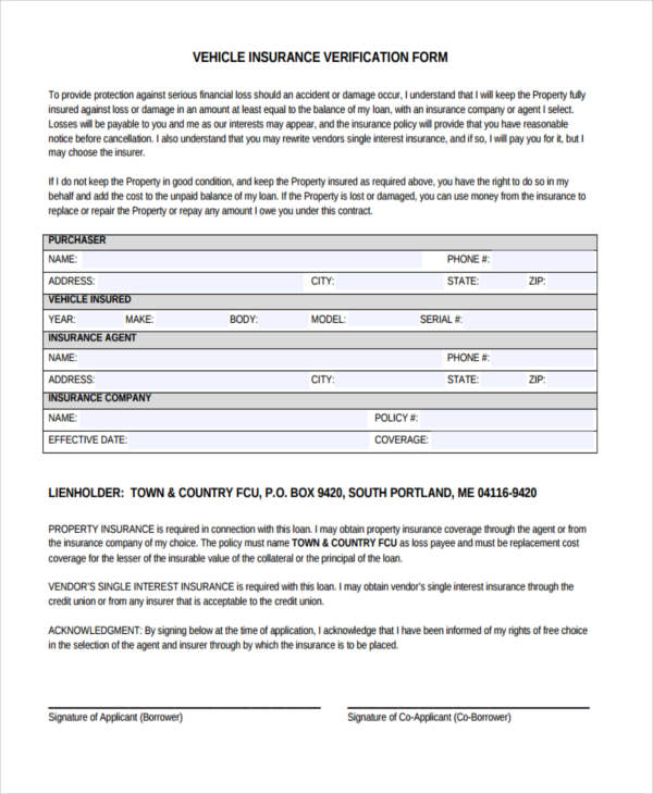 free vehicle insurance verification form