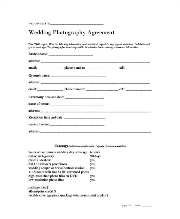 Videography Contract Template. Free Download Wedding Photography