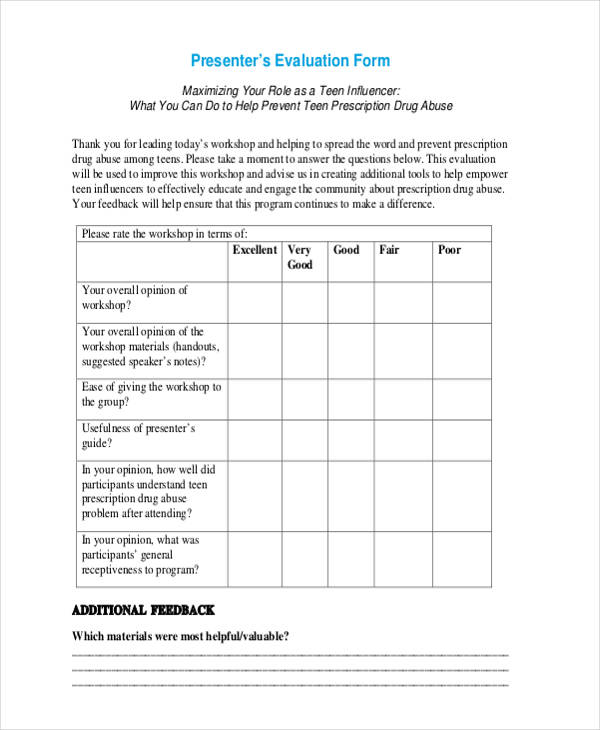 Workshop Presenter Evaluation Form. Free Workshop Presenter