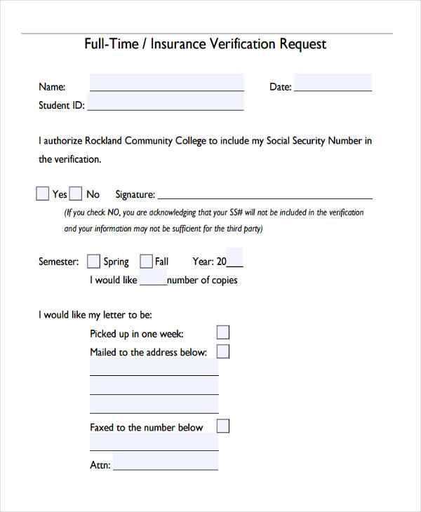 full time insurance verification request form