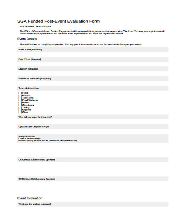 funded post event evaluation form