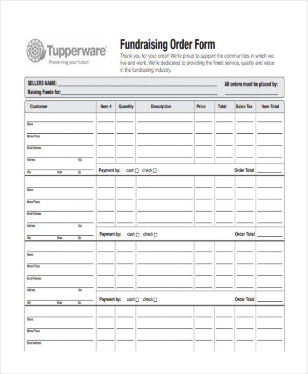 8+ Fundraiser Order Forms - Free Sample, Example, Format Download