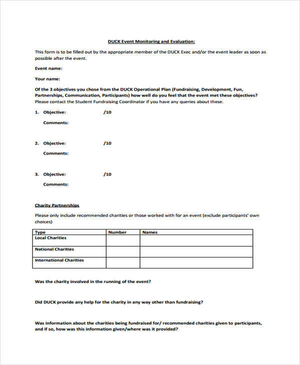 fundraising event evaluation form