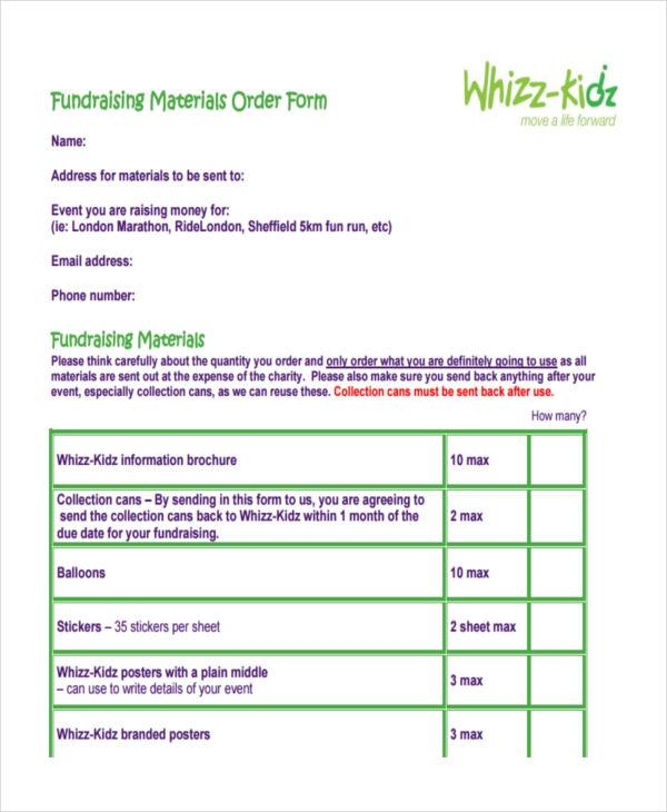 fundraising materials order