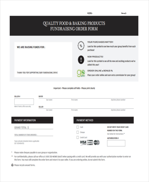 fundraising product order