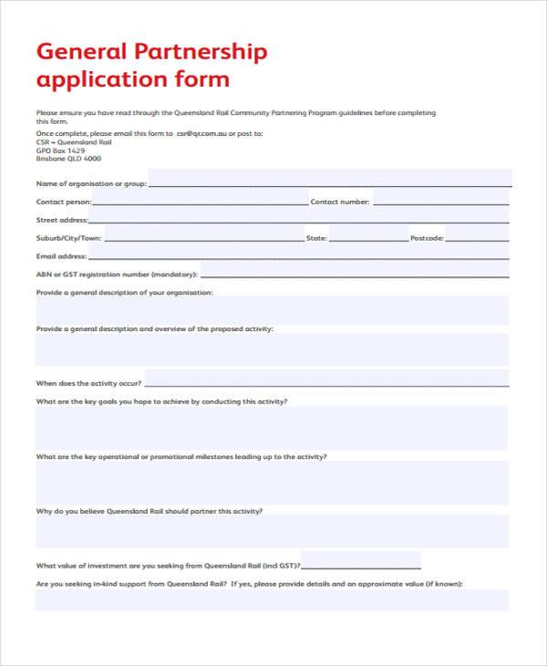 general partnership application form