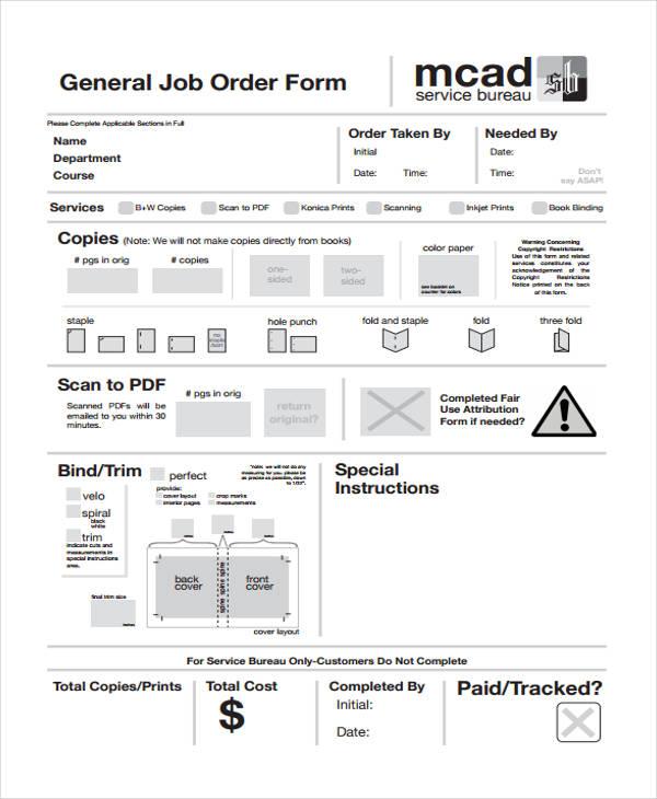 general service job order form