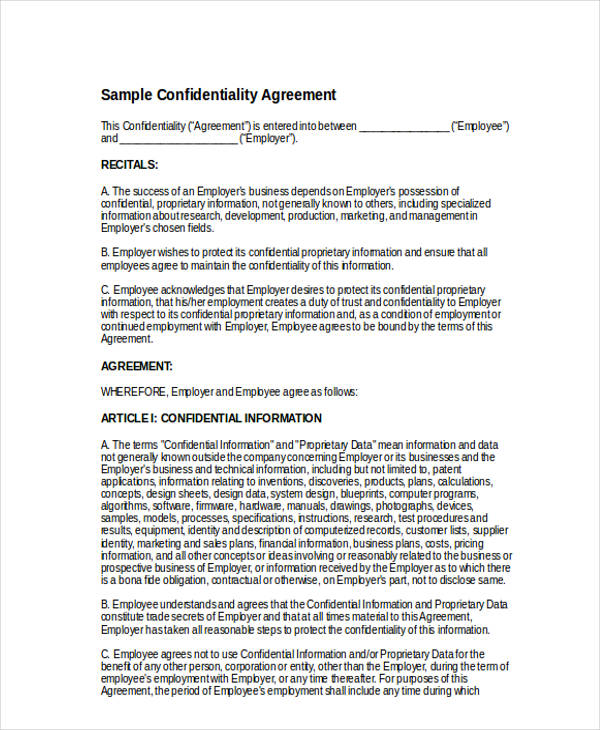 Confidentiality Agreement Form  Free Documents In Word Pdf