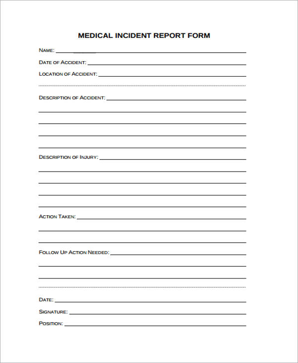 Medical Incident Report Forms  BesikEightyCo