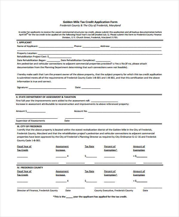 golden tax credit application form