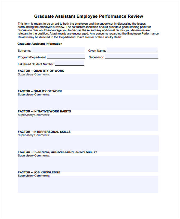graduate employee performance review form