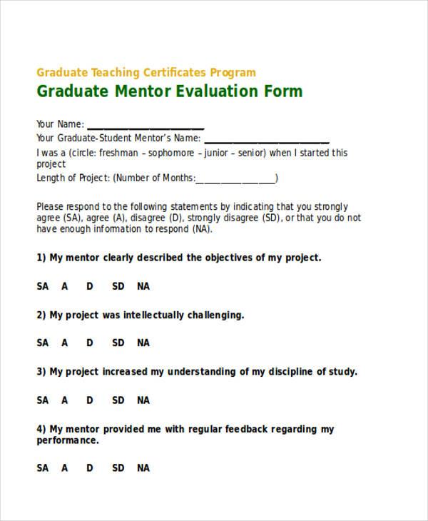 graduate mentor evaluation in doc