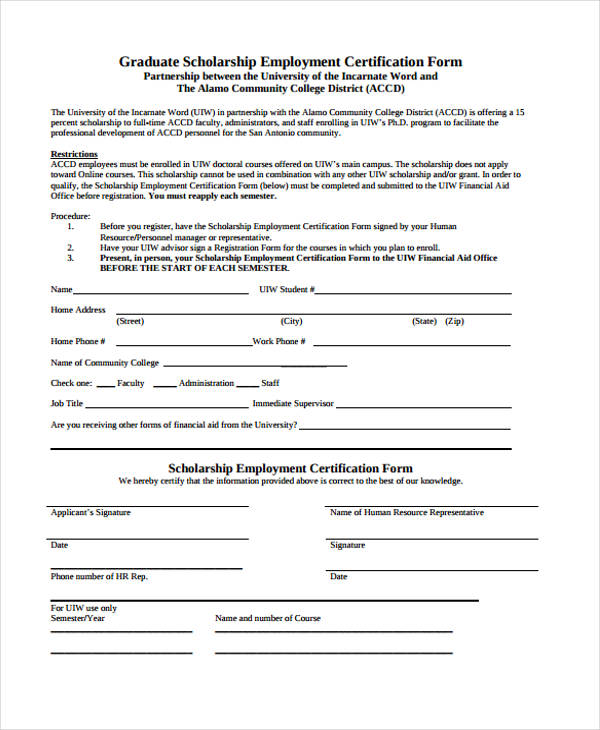 Free 10 Employment Certification Form In Sample Example