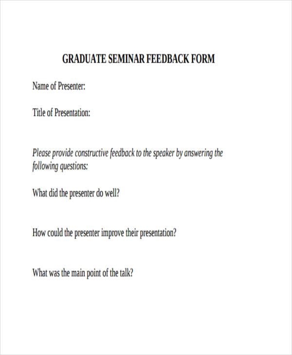graduate seminar feedback example1