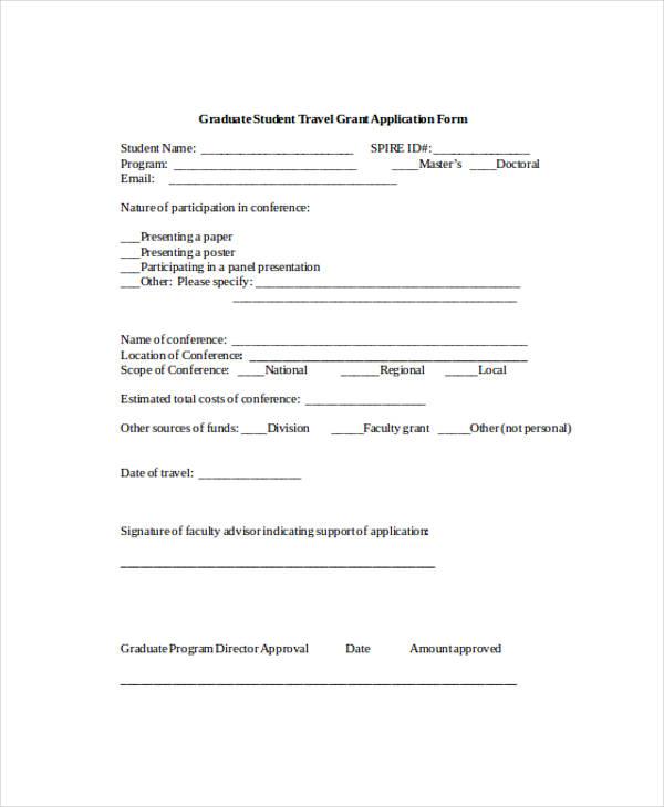 graduate student travel application form