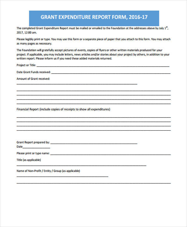 grant expenditure report form