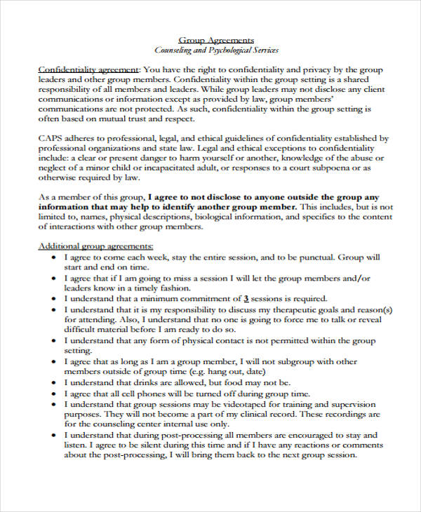 group counseling confidentiality agreement form