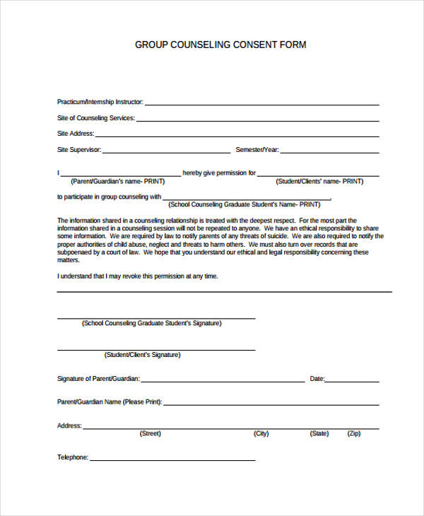 group counselling consent form