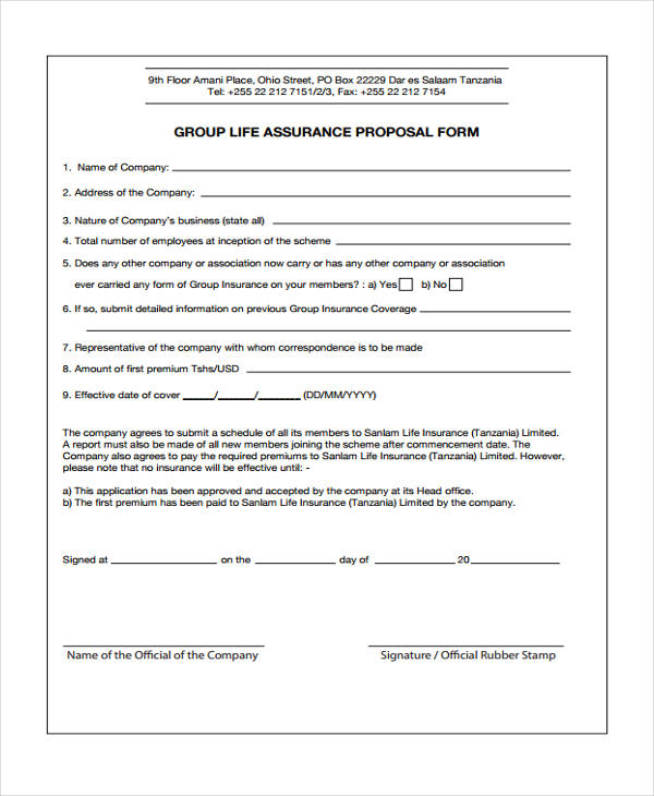 Insurance Proposal Form Sample