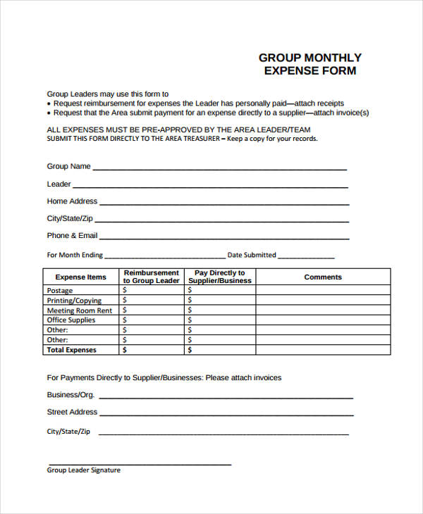 group monthly expense form