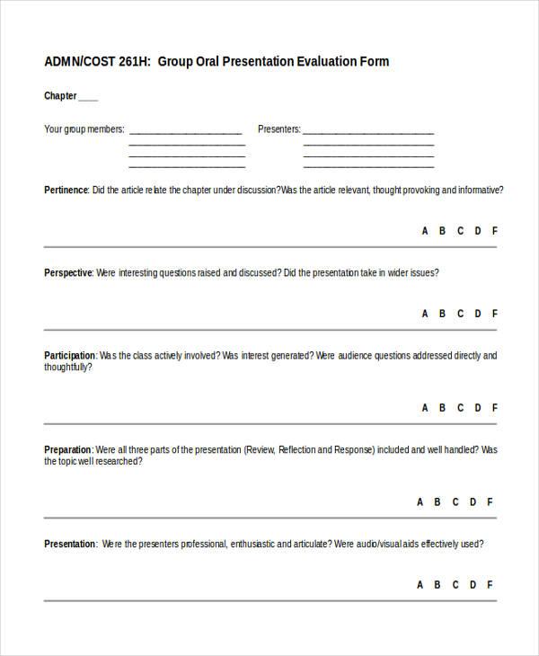 group oral presentation form