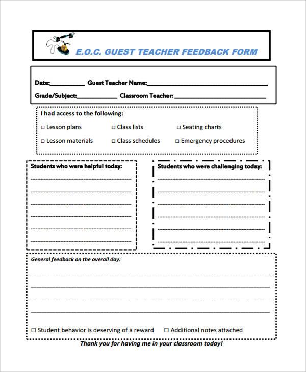 guest teacher feedback