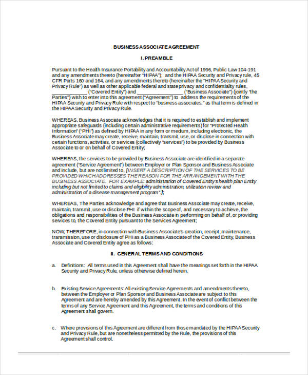 Hipaa Business Associate Agreement Sample Business Associate