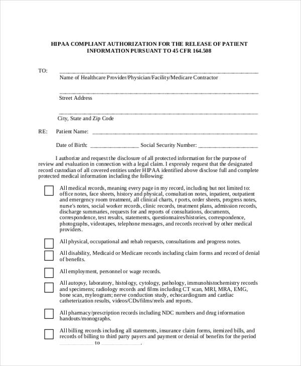 Print Release Form Templates