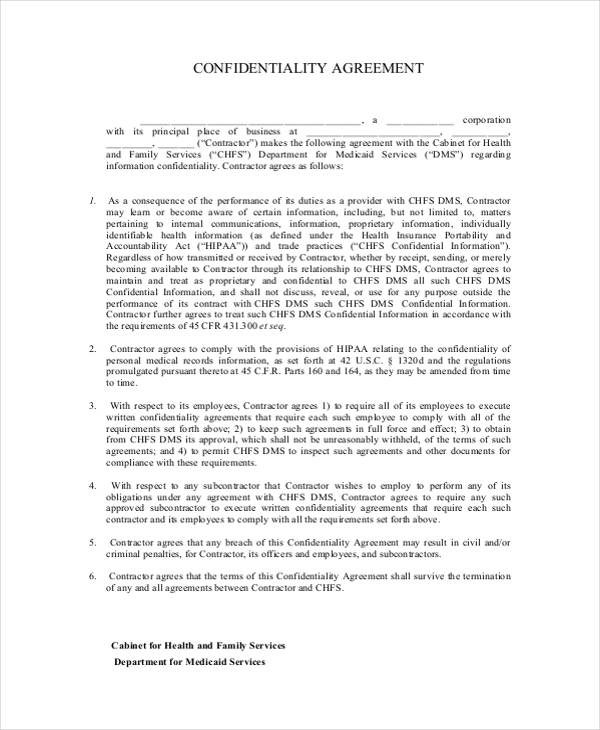 HIPAA Contractor Confidentiality Agreement Form