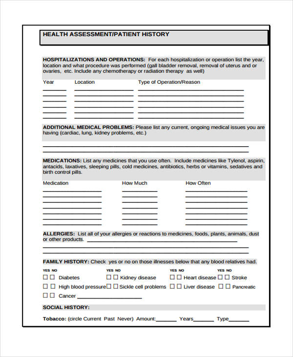 health assessment patient history form