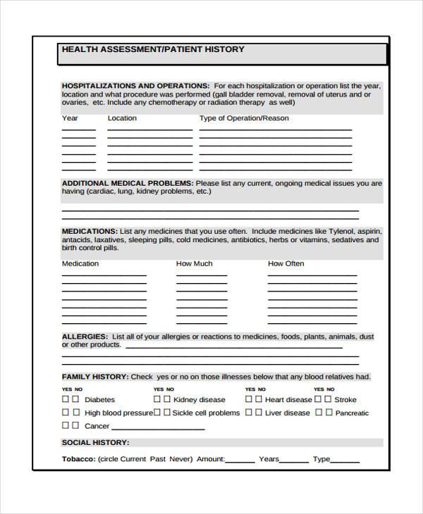 mental health assessment form pdf