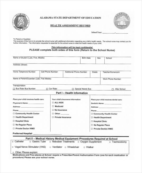health assessment physical record form
